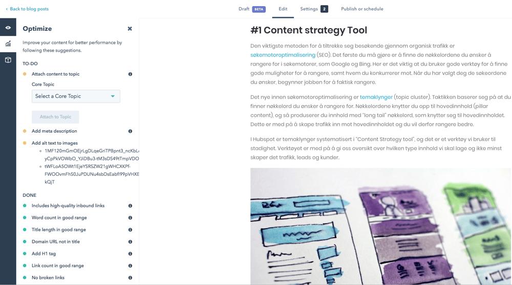 HubSpot blogg verktøy med søkemotoroptimalisering