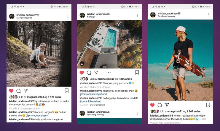 kvadratisk horisontal eller vertikale bilder og video på instagram?