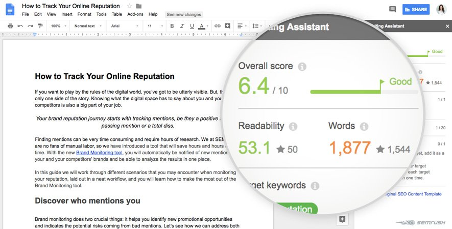 "Tips for å skrive blogg med ""SEO writing assistant"" skjermbilde"